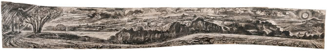"""Long Landscape"" - engraved sycamore"
